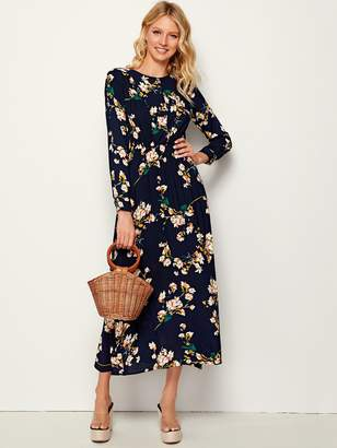Shein Allover Floral Print Elastic Waist Plicated Dress