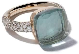 Pomellato 18kt rose & white gold small Nudo topaz & diamond ring