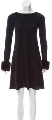 Autumn Cashmere Faux-Fur Trimmed Mini Dress