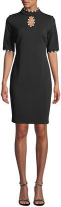 Gabby Skye Striped-Trim Keyhole Knit Sheath Dress
