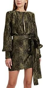 Saint Laurent Women's Lamé Belted Minidress - Gold