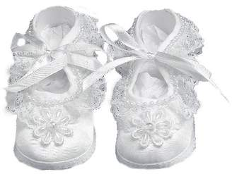 Ralph Lauren Madison baby girl Christening Baptism Special occasion Infant Satin Shoes With Hand Made Pearl Trimmed Flower On Toe