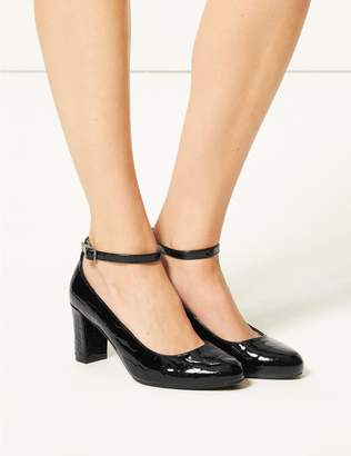 Marks and Spencer Wide Fit Ankle Strap Block Heel Court Shoes