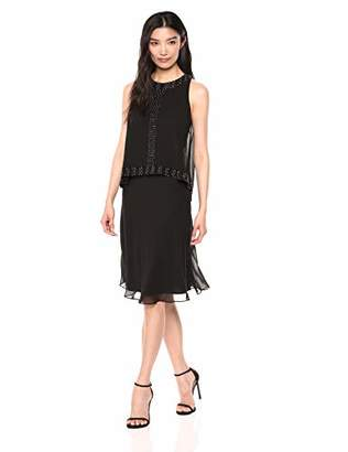 SL Fashions Women's Sleeveless Beaded Chiffon Hi-Lo Popover Cocktail Dress