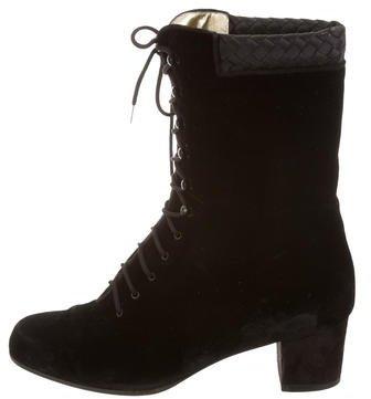 Bottega VenetaBottega Veneta Velvet Lace-Up Ankle Boots
