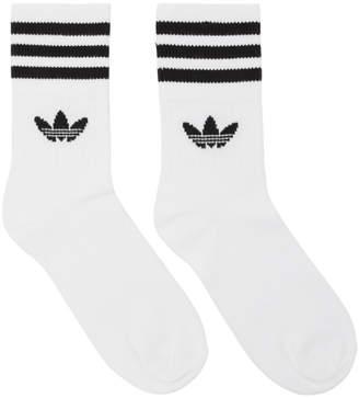 adidas Three-Pack White Striped Mid Cut Socks