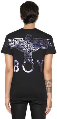 Boy London Flocked Logo Cotton Jersey T-Shirt