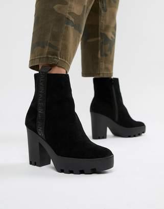 Calvin Klein Serina black suede chunky heeled chelsea boots