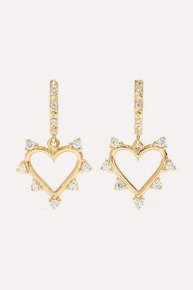 Marlo Laz Open Heart 14-karat Gold Diamond Hoop Earrings