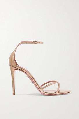 Aquazzura Purist 105 Mirrored-leather Sandals - Gold