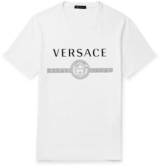 Versace Slim-Fit Logo-Print Cotton-Jersey T-Shirt - Men - White
