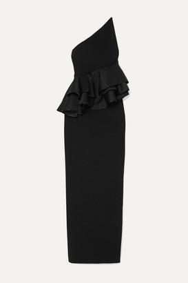 SOLACE London Dacia One-shoulder Ruffled Satin-trimmed Crepe Maxi Dress - Black