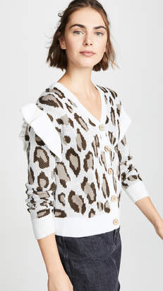 Chaser Leopard Jacquard Ruffle Cardigan