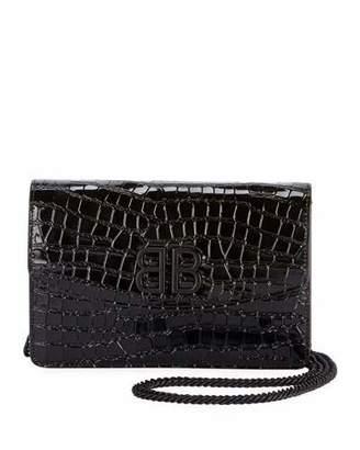 Balenciaga BB Croco Leather Wallet On Chain