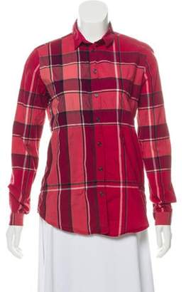 Burberry Exploded Check Button-Up Top red Exploded Check Button-Up Top