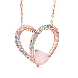 Zales 6.0mm Heart-Shaped Lab-Created Opal and White Sapphire Heart Pendant in Sterling Silver with 14K Rose Gold Plate