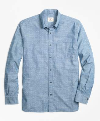 Brooks Brothers Dot-Print Cotton Chambray Sport Shirt
