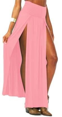 Fashionable Hanyulore Design Sexy Women Ladies High Waisted Double Slit Split Skirt Open Leg Long Maxi Skirt Dress Girls Long Dress