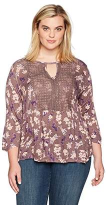 "Self Esteem Women's 3/4"" Sleeve Printed Empire Top"