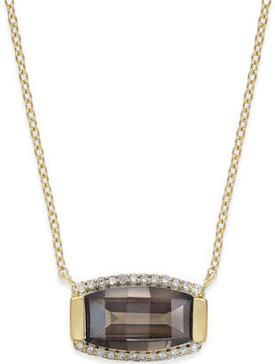 Macy's Quartz (3 ct. t.w.) and Diamond (1/8 ct. t.w.) Pendant Necklace in 14k Gold Vermeil over Sterling Silver