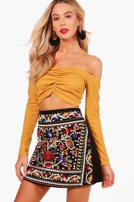 boohoo Woven Full Embroidered Mini Skirt