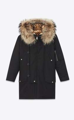 Saint Laurent Military Parka With Printed Leopard Fur Lining And Racoon Collar