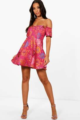 boohoo Jacquard Off the Shoulder A Line Dress