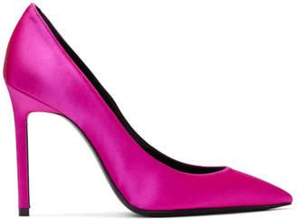 Saint Laurent Pink Satin Anja Heels