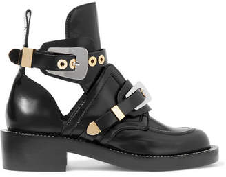 Cutout Glossed-leather Ankle Boots - Black