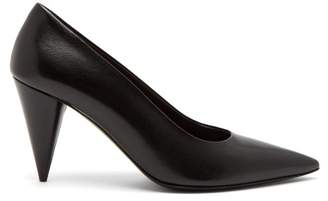 The Row - Cone Heel Leather Pumps - Womens - Black