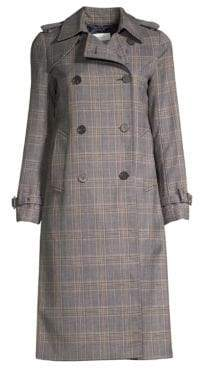 Sandro Roselier Plaid Trench Coat