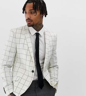 Heart & Dagger Skinny Suit Jacket In Wool Check