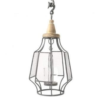 Gracie Oaks Hanging Glass/Metal/Wood Lantern