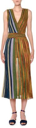 Missoni V-Neck Sleeveless Plisse Lamé; Reversible Maxi Dress