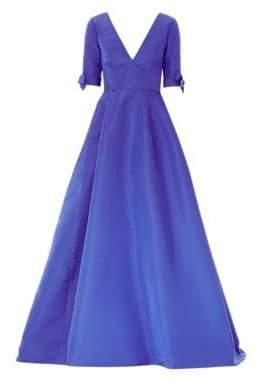 Carolina Herrera Silk Bow Sleeve Ball Gown