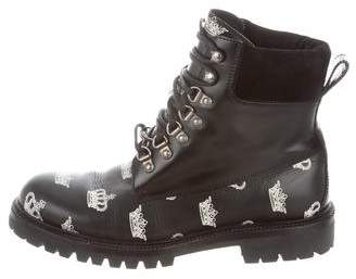 Dolce & Gabbana Leather Printed Combat Boots