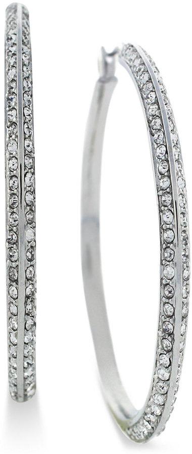 Vince Camuto Earrings, Silver-Tone Glass Hoop Earrings