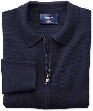 Charles Tyrwhitt Navy Merino Wool Zip Jacket Size Medium