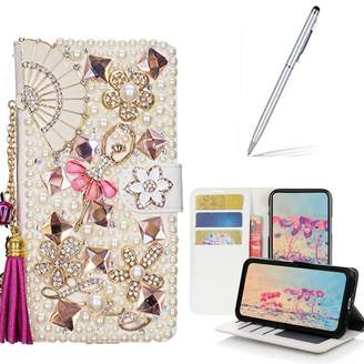 Yaheeda iPhone 8 Plus/7 Plus Case with 2 in 1 Stylus and Ballpoint Pen, [Stand Feature] Butterfly Wallet Case Premium [Bling Luxury] Leather Flip Cover [Card Slots] for Apple iPhone 8 Plus/7 Plus