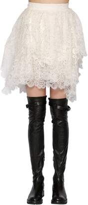 Ermanno Scervino Layered Silk Lace Mini Skirt
