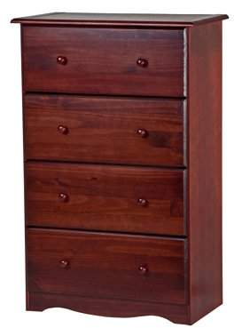100% Solid Wood 4 Super Jumbo Drawer Chest 5342 by Palace Imports, Mahogany Color