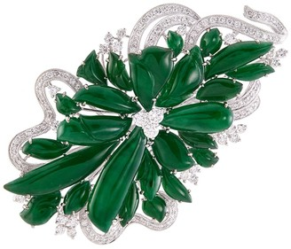 LC Collection Jade Diamond jade 18k white gold floral brooch