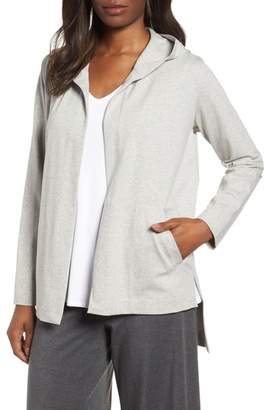 Eileen Fisher Hooded Stretch Organic Cotton Cardigan