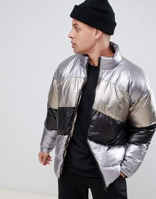 Asos DESIGN oversized metallic puffer in silver