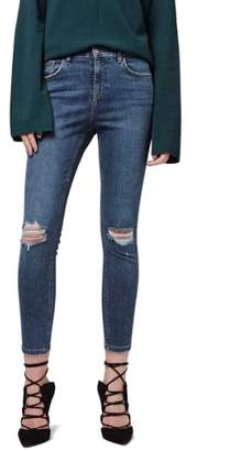 Topshop Moto 'Jamie' Ripped Skinny Ankle Jeans