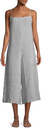 Vitamin A Stripe Linen Wide-Leg Coverup Jumpsuit