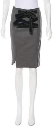 Saint Laurent Velvet-Trimmed Pencil Skirt