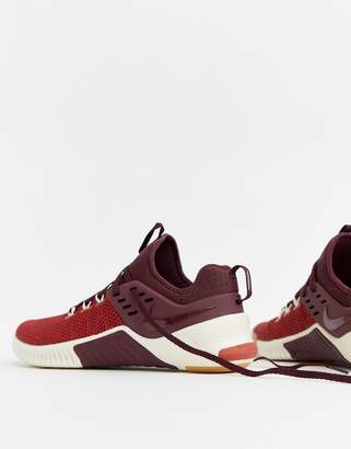 eb87e52db0e1d Nike Training Metcon free sneakers in burgundy ah8141-626