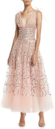 Oscar de la Renta Sleeveless V-Neck Sequin-Loop Embroidered Tulle Tea-Length Cocktail Dress