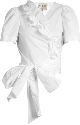 SEA Ruffled cotton wrap top $324 thestylecure.com